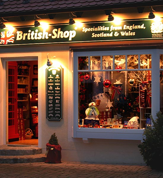 British Shop and English Shop für British Food wie Marmite und Colman's und Cadbury sowie English Tea wie PG Tips und Tetley und Yorkshire Tea